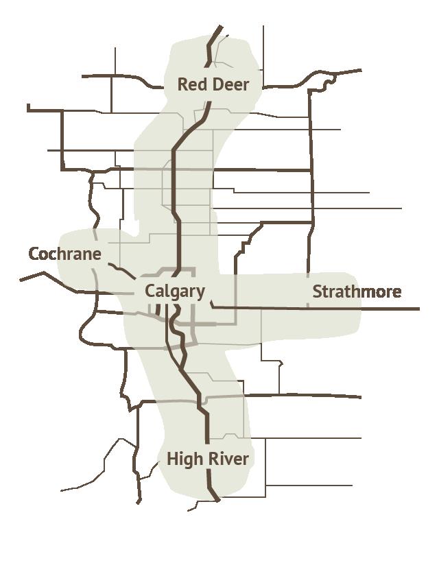 garage door service area map in Southern Alberta